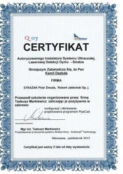 zabezpieczenia czynne certyfikat 77