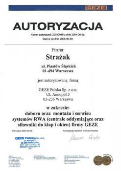 zabezpieczenia czynne certyfikat 78