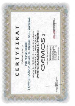 zabezpieczenia czynne certyfikat 92