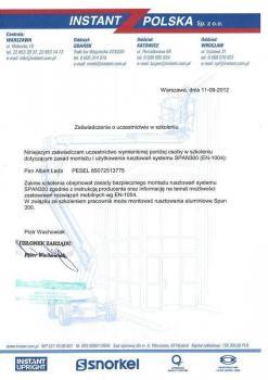 zabezpieczenia czynne certyfikat 33