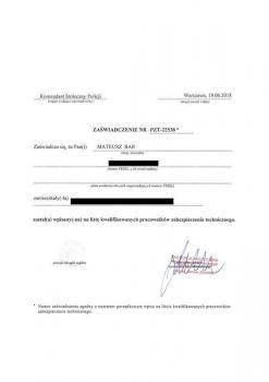 zabezpieczenia przeciwpożarowe -  inne certyfikaty 2